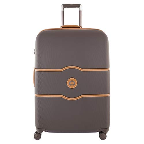 DELSEY Paris Chatelet Hard+ Hardside Luggage with Spinner Wheels, Chocolate Brown, Checked-Large 28 Inch