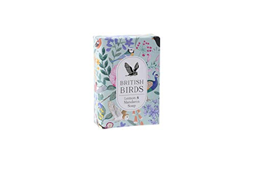 Vogel Bloemen Ontwerp Hand Verpakt Milieuvriendelijk 100% Plantaardig Blauwgroen 100g Citroen & Mandarijn Zeep Gemaakt in het Verenigd Koninkrijk | Uit CGB Giftware's British Birds Collection | GB04778