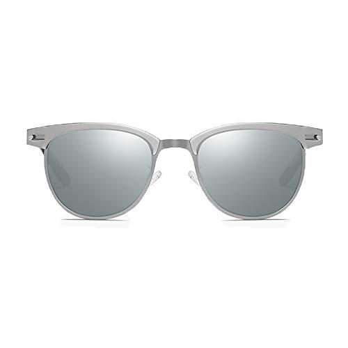 DKee Gafas de Sol Nuevas Gafas De Sol Polarizadas Europa Y Los Estados Unidos Gafas for Montar Al Aire Libre Unisex UV400 Protección Plata Marco Lente Lente