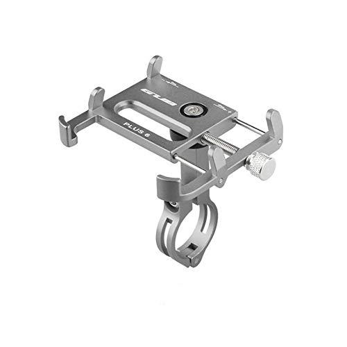 Accesorios para bicicletas Plus 6 de aluminio Soporte de montaje para teléfono de bicicleta ajustable Soporte de teléfono para 3.5-6.2 pulgadas Smartphone titanio