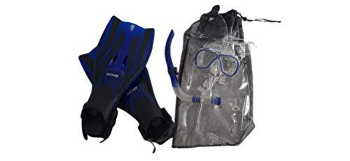 Kit, Juego para Snorkel, Snorkeling con Estuche, Set de Buceo con Aletas, Gafas y Tubo - Color Azul - Talla L/XL