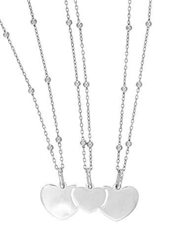 Tre Collane e Ciondolo Divisibile in tre pezzi per Amiche Sorelle in Argento 925 Ciondoli da dividere condividere (Tre Sfere Alternate - Cuori)