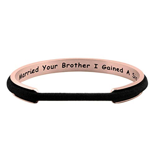 Zuo Bao Sister in Law Gift Hair Tie Bracelet When I Married Your Brother I Gained A Sister Cuff Bracelet Sister of The Groom Bracelet (Rose Gold)