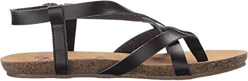 Blowfish Malibu Women's Granola Flat Sandal, Black Dyecut PU, 8 Medium US