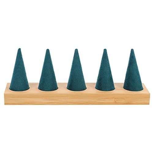 EXCEART Anéis Bandeja de Exibição Anel Titular De Bambu Forma de Cone de Mostruário de Jóias Organizador De Armazenamento para O Anel de Bugiganga Casa Loja de Feiras Contador