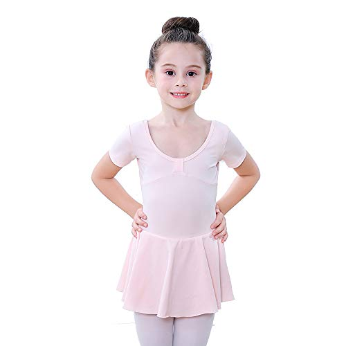 Soudittur Body Danza Classica Manica Corta Balletto Leotard Body Ginnastica Artistica con Gonnelino Cotone Tutu per Bambine e Ragazze in Rosa