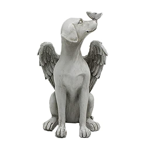 Engel Hund Statue Engel Hundefigur Garten Dekoration Statue Figur mit Engelsflügel, Hunde Memorial Statue Schlafender Engel Hund mit Flügeln Grabstein Engelfiguren Friedhof Dekor