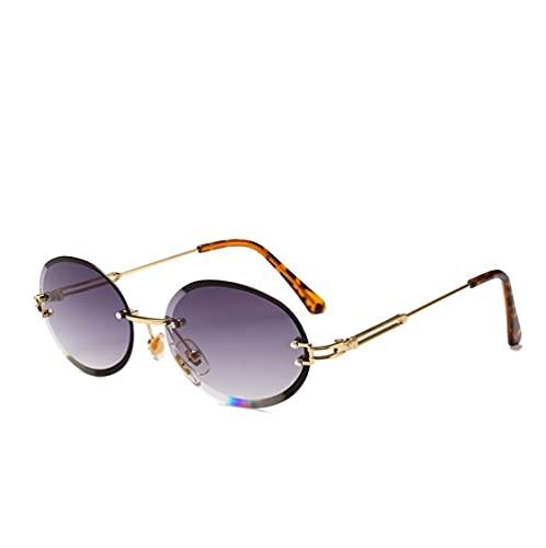 ZZZXX Gafas De Sol HombreElipse Sin Marco Gafas De Sol Hd Antireflectantes Para Hombre Y Mujer,Con Caja De Regalo Y Paño Para Vasos