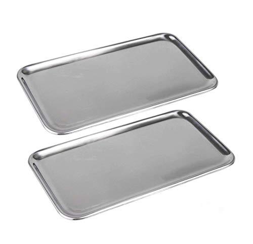 IMEEA Kleine Rechteckig Serviertablett für Küche Badezimmer SUS304 Edelstahl (8 x 4,5 inch), 2 Stück (Silber)