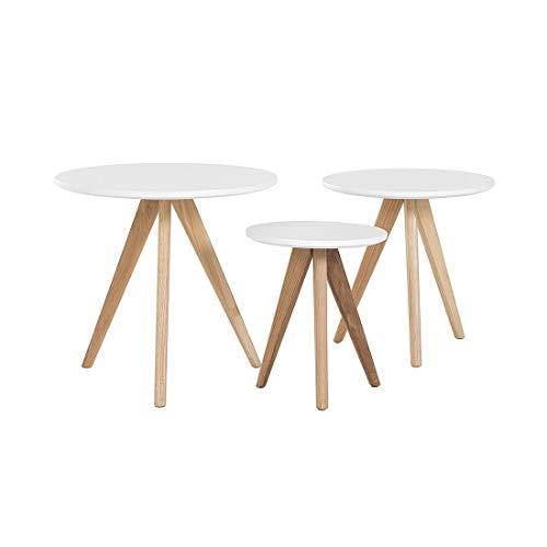 Salontafels – set met 3 bijzettafels – wit – vegas