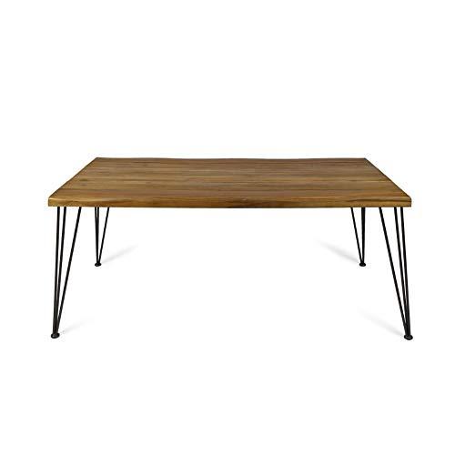 "Christopher Knight Home Kama Patio Dining, Rectangular, 72"", Acacia Wood Table Top, Rustic Iron Hairpin Legs, Teak Finish, Metal"