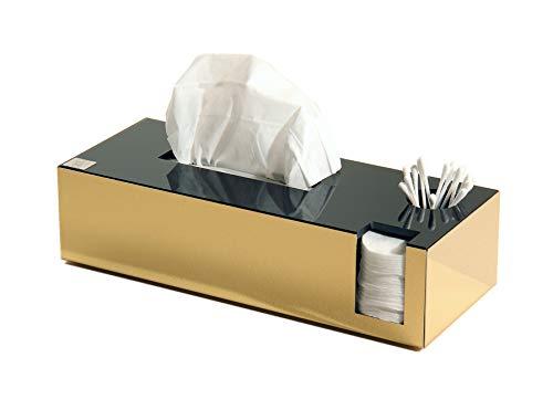 Schönbeck Design Tissuebox Kombibox aus Edelstahl-goldfarben und Glas schwarz Wattepadhalter Wattestäbchenhalter Papiertuchbox Kosmetiktücherbox