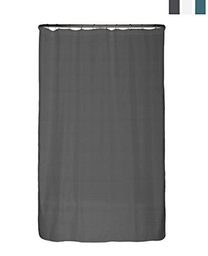 arteneur® - Premium Duschvorhang 120x180 – Antischimmel Duschvorhang Grau mit Struktur-Stoff , Blickdicht, Wasserdicht, Waschbar und inkl. E-Book und Ringe (Anthrazit Grau)