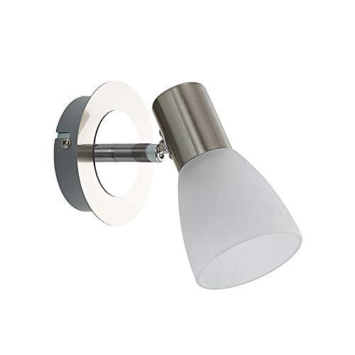 ELC LED Wandlampe Edelstahl Glas, schwenkbar & drehbar | 1 flammig inkl. 1 x 4,5W E14 LED Leuchtmittel | Wandleuchte innen | Deckenspot warmweiss | Metall nickel matt chrom | LED Spot | Strahler