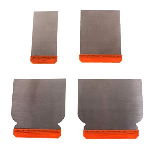 JOYKK 4Pieces Kit di Stucco per Acciaio al carbonio Strumento di riempimento per Stucco per raschietto Resistente - Grigio e Arancione