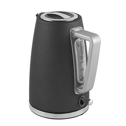 Salter EK3931GRY-Hervidor de Agua (Capacidad de 1,7 L, 3000 W, rapido, proteccion contra hervir, Apagado automatico, Acabado Suave al Tacto, Color Gris, Negro, 1.7 Litre