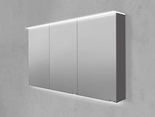 Intarbad ~ Spiegelschrank 120 cm LED Acryl Lichtplatte doppelseitig verspiegelt Rift Eiche Anthrazit