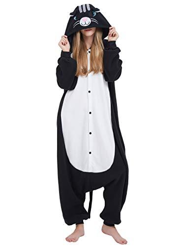 Kigurumi Pijama Animal Entero Unisex para Adultos con Capucha Cosplay Pyjamas Gato Negro Ropa de Dormir Traje de Disfraz para Festival de Carnaval Halloween Navidad