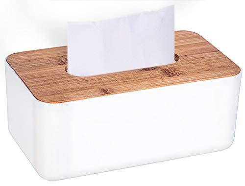 Ldawy Caja de pañuelos, soporte de pañuelos, caja de pañuelos Rectangular blanca con cubierta de madera para el hogar, la oficina, la decoración automotriz del automóvil