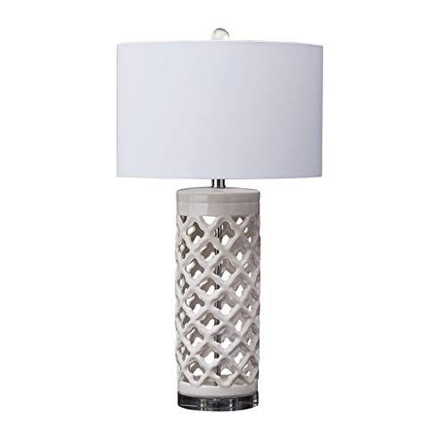 """Bedside Lamp/Lámpara de Cabecera Cerámica, cerámica y viga geométrica del recorte de escritorio de la tabla de la lámpara de cerámica del dormitorio lámpara de mesa lámpara de cabecera, 29"""" H, blanca"""