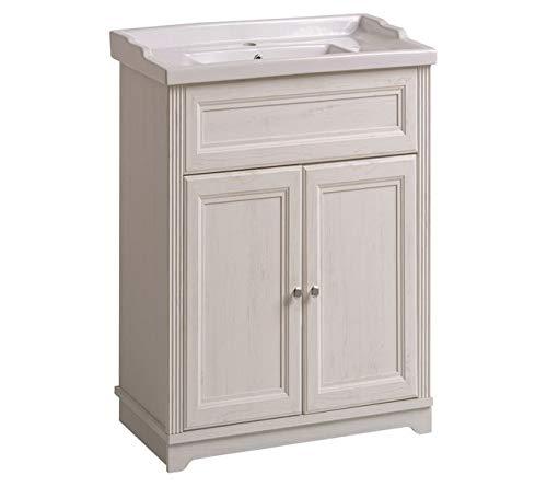 Jadella Waschbeckenunterschrank 'Nevio W' Waschtisch Waschbecken Badmöbel 60cm Weiß Pinie