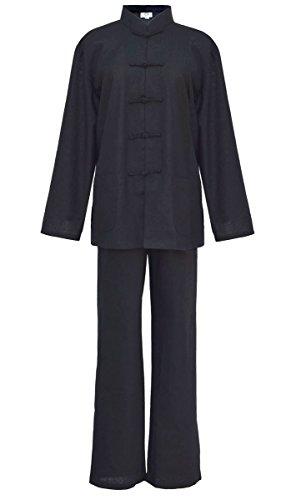 Laciteinterdite Damen Blaumwolle Tai chi, Qi Gong, Kung fu Anzug schwarz M