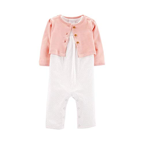 Conjunto de cardigã Carter's Baby Girls Heart 12 meses branco/rosa