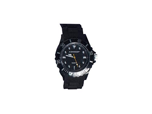 Dunlop - Trendy Damenuhr - schwarzes Silicon Armband - Leuchtanzeiger Modische Uhr