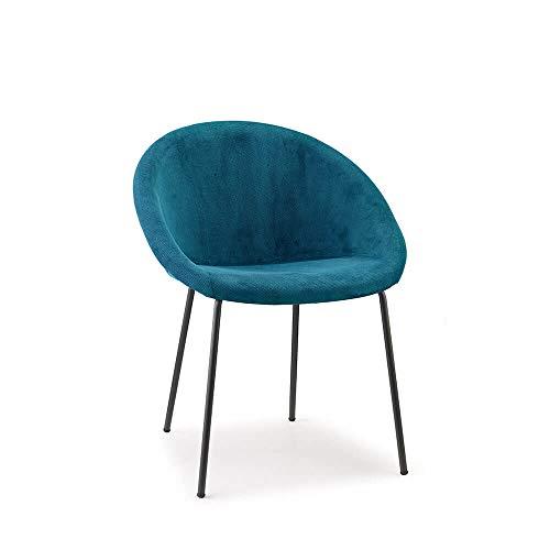 Scab Design Giulia Pop stoel met gelakte poten antraciet en stoffen schaal pauwengroen
