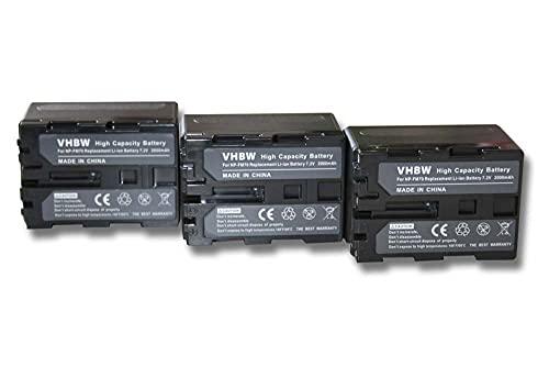 vhbw 3X Batería Recargable reemplaza Sony NP-FM30, NP-FM50, NP-FM70, NP-FM90, NP-FM91 para cámara de vídeo, videocámara (2000 mAh, 7,2 V, Li-Ion)