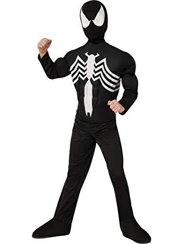 Rubie's Marvel Ultimate Spider-Man/Venom Deluxe Muscle Chest Black Costume, Child Medium - Medium One Color