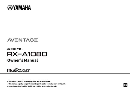 for Yamaha RX-A1080 AV Receiver Owners Instruction Manual Reprint