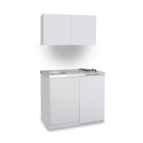 MEBASA MK0008OSWEISSC Büro-Küche Küchenblock mit Kühlschrank Spüle und integriertem Duo-Ceran-Kochfeld in Weiß 100 cm