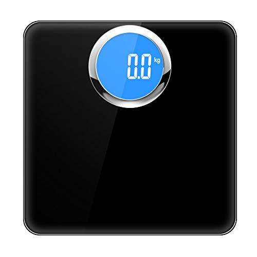 CHGDFQ Escala de Peso Corporal, báscula de baño Digital de Alta precisión, balanza electrónica con tecnología de Paso, Pantalla LCD retroiluminada (Color : Black)