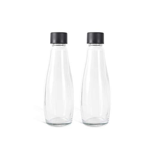 Levivo Botellas de vidrio para gasificadora, 0.6 l de capacidad, se pueden usar como jarra de vidrio, más ecológicas y duraderas que las botellas de PET, 2 botellas