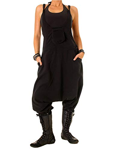 Vishes - Alternative Bekleidung - Warme Damen Fleece Thermo Latzhose Haremshose schwarz 44/46