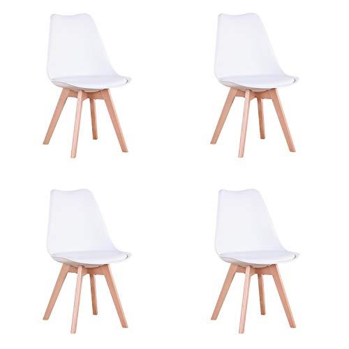 N / A Conjunto de 4 sillas, Silla de Comedor, Silla de tulipan de Estilo nordico, Adecuada para Sala de Estar, Comedor (Blanco)