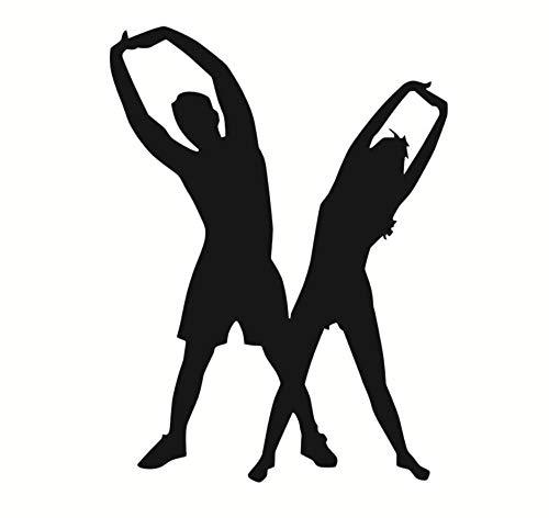 Hlnaughty Frau Und Mann Gym Fitness Yoga Wandtattoos Gymnastic Sport Yoga Vinyl Startseite Wandtattoo Tapete Decor Abnehmbare 44Cmx59Cm