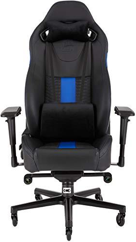 Corsair T2 Road Warrior - Fauteuil Gaming de bureau en similicuir, montage facile, ergonomique, hauteur réglable et accoudoirs 4D, siège large et confortable avec dossier inclinable - Noir/Bleu
