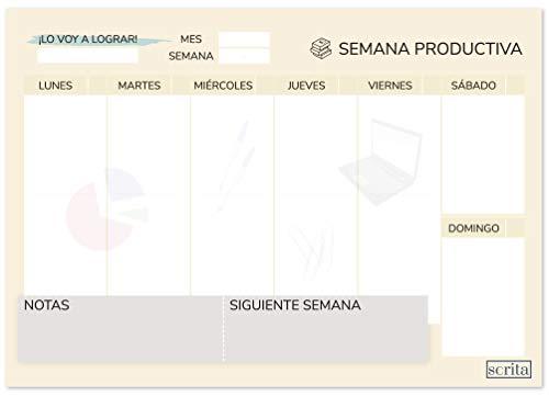 scrita Planificador Semanal A4 Sobremesa, Organiza tu Tiempo, para Estudiantes, Oficinas, Calendario Semanal