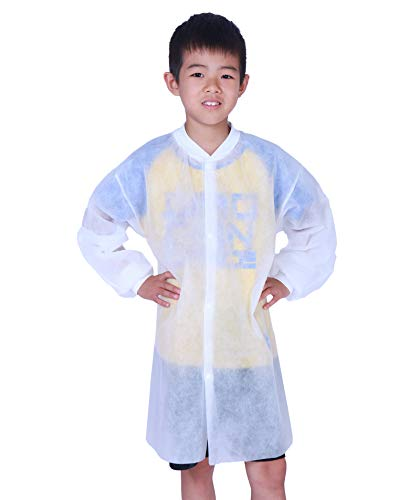 Cleaing Disposable Lab Coats for Kids with Knit Cuffs, Large, 10 Pack