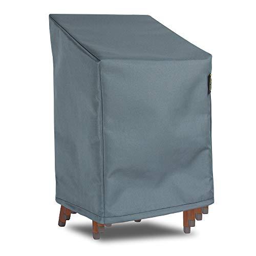 Hentex Cover Abdeckung für Gartenstuhl mit hoher Rückenlehne,Abdeckung für Gartenstühle mit Zugkordel & Befestigungsclips, (75x78xH65/110 cm) für bis zu 4 Stühle