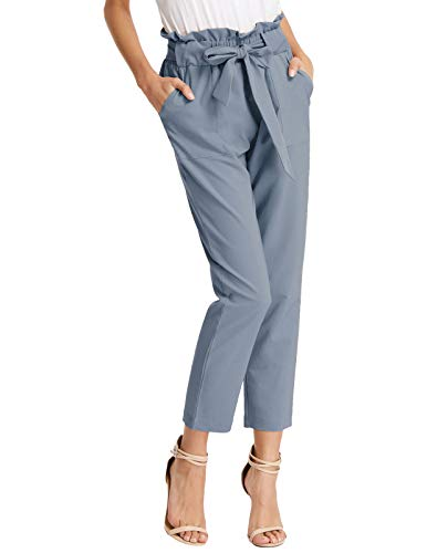 GRACE KARIN Womens Paper Bag Pants Slim Fit High Waist Trousers with Bow Tie Blue Gray M