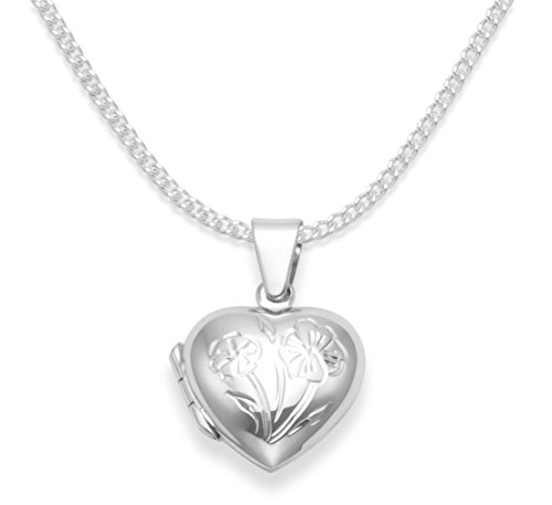 925 Sterling Silver Children's Heart Locket Necklace with flower on 15' Silver chain - opening locket - Size: 15mm x 13mm. Gift boxed B43/8020/15