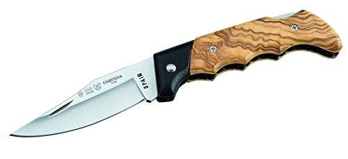 Nieto CAMPERA an.58 Couteau de Poche pour Adulte en Acier Inoxydable avec verrou arrière en Bois d'olivier et Lame en Aluminium Noir Multicolore Taille Unique