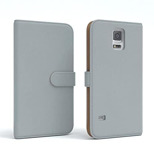 EAZY CASE Tasche kompatibel mit Samsung Galaxy S5/LTE+/Duos/Neo Schutzhülle mit Standfunktion Klapphülle Bookstyle, Handytasche Handyhülle mit Magnetverschluss & Kartenfach, Kunstleder, Hellgrau