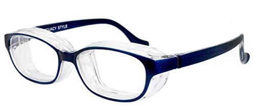 スカッシー 名古屋眼鏡 花粉メガネ 目立たない 曇らない おしゃれ スタイル 子供用 キッズ (NEW 曇り止めコート仕様) 8730-01 ブルー 1個