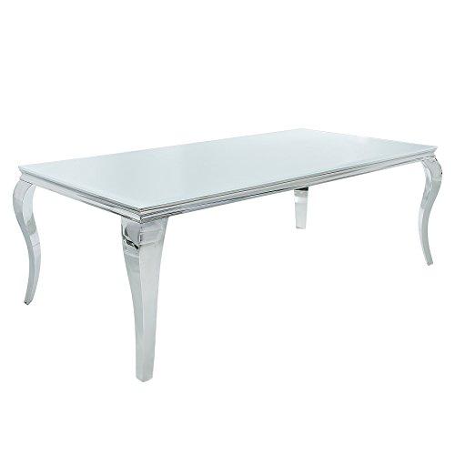 Invicta Interior Design Esstisch MODERN BAROCK 200 cm Edelstahl mit Tischplatte aus weißem Opalglas 200x105 cm Silber Glasplatte Glastisch Esszimmer