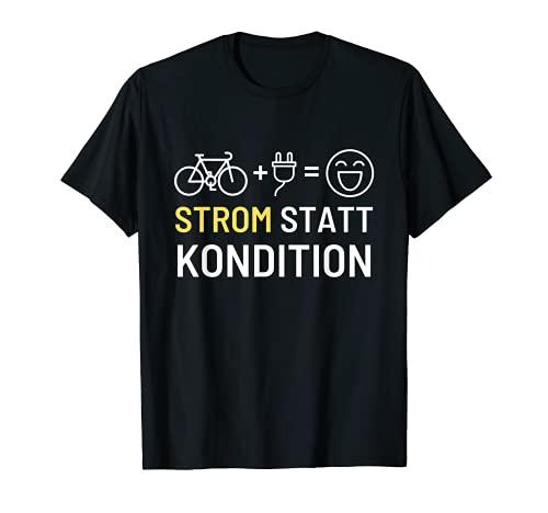 "Bicicleta eléctrica eléctrica con texto en alemán ""Strom statt Kondition"". Camiseta"