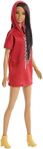Barbie Fashionista, muñeca 32cm morena con vestido rojo (